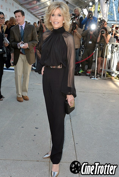 Jane Fonda in a Haney black pantsuit