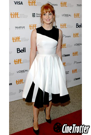 Jessica Chastain in a Christian Dior black-and-white cocktail dress.