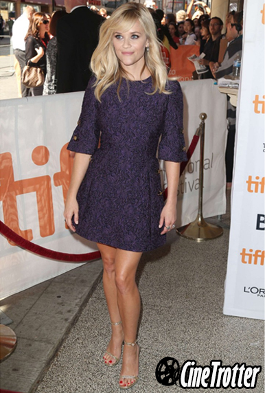 Reese Witherspoon in a Dolce and Gabbana purple wool-blend brocade dress