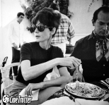 Audrey Hepburn eating pasta with Oscar de la Renta in Estoril (Cascais), Portugal, 1968